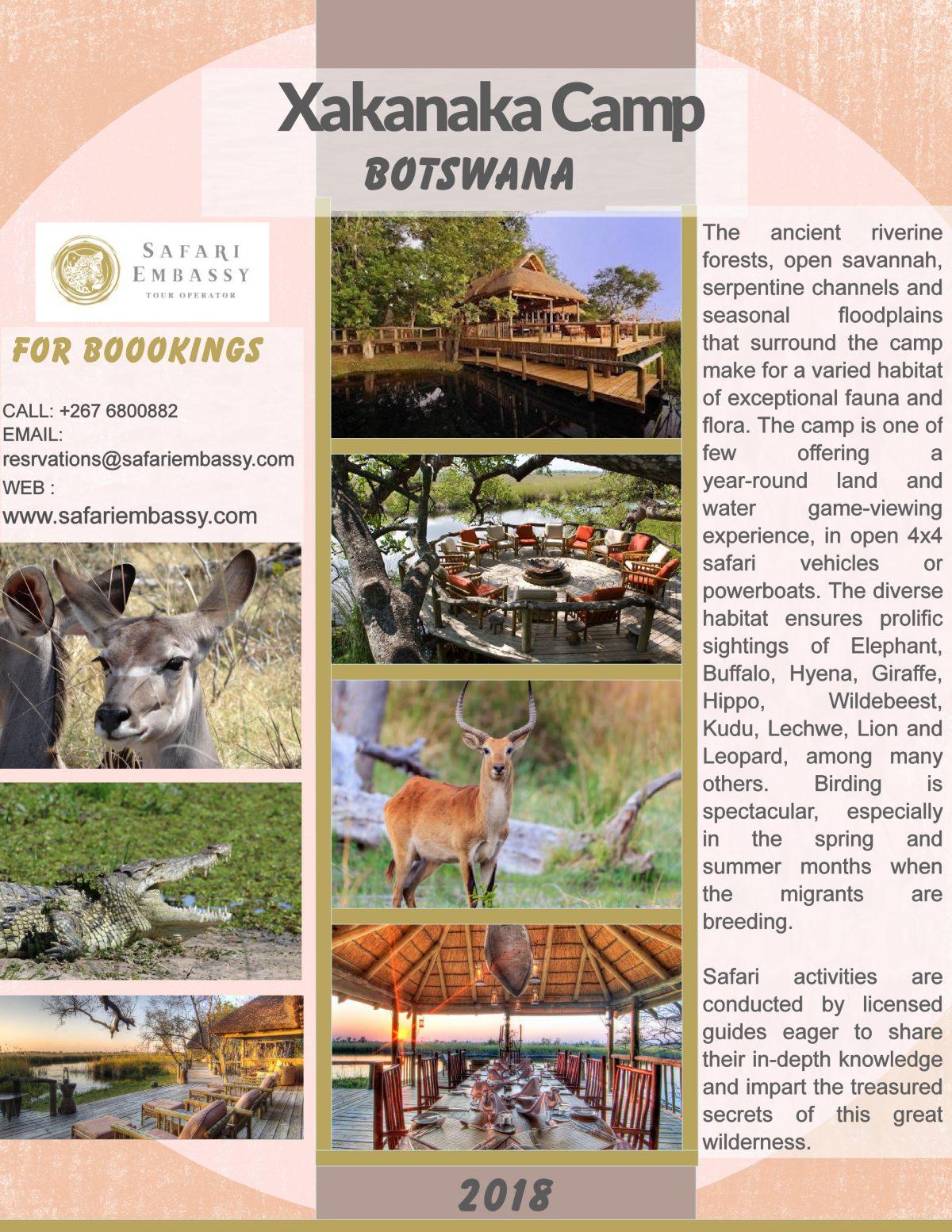 Book With Safari Embassy to Xakanaka Camp Botswana